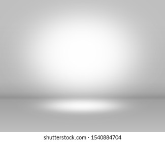 Gray empty room studio gradient 3D background.