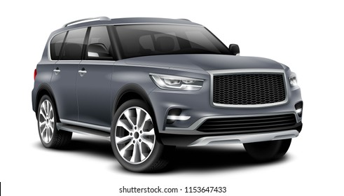 Gray Generic SUV Car. Off Road Crossover With Glossy Surface On White Background Perspective View With Isolated Path