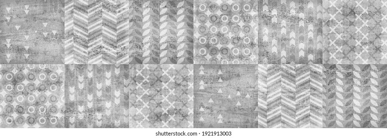 Gray geometric pattern, textile design and cement texture, retro background