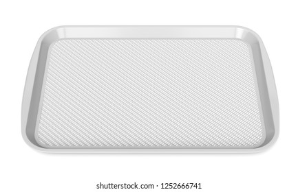 Gray glossy plastic food tray isolated on white background. Front view. 3D illustration