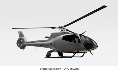 Gray helicopter isolated on the white background. 3d illustration.