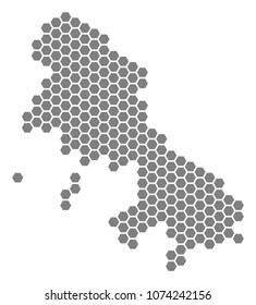 Gray hexagonal Skyros Greek Island Map. Raster geographic map in grey color on a white background. Raster mosaic of Skyros Greek Island Map created of hexagon items.