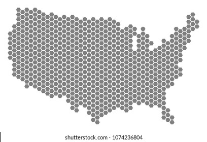 Gray hexagonal USA Map. Raster geographic map in grey color on a white background. Raster concept of USA Map organized of hexagon blots.