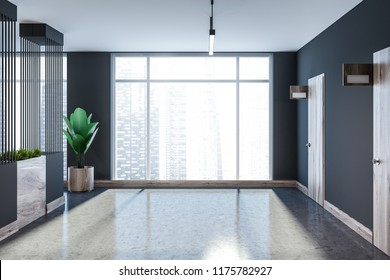 Gray hotel, office or apartment block lobby perspective with a closed wooden door and a concrete floor. Flower beds and mock up door sign. Panoramic window with cityscape 3d rendering