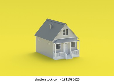 Gray house on yellow background. Real estate construction. Buying, selling cheap housing. Renting out. Modern architecture. Land of cities and towns. 3d render