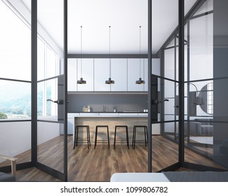 Gray kitchen interior with white countertops, a bar with stools and a row of ceiling lamps hanging above it. A glass door. 3d rendering mock up