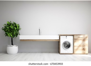 Gray laundry room interior with a sink, a washing machine, a tree in a pot and a cabinet. 3d rendering mock up