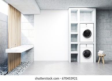 Gray laundry room interior with a sink, two washing machines, a tree in a pot and a set of shelves. Side view. 3d rendering mock up