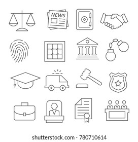 Gray Law line icons set on white background