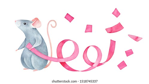 Gray little baby mouse character holding pink serpentine streamer with cheerful flying confetti. Hand painted watercolour graphic drawing on white, isolated clipart elements for design, banner, print.