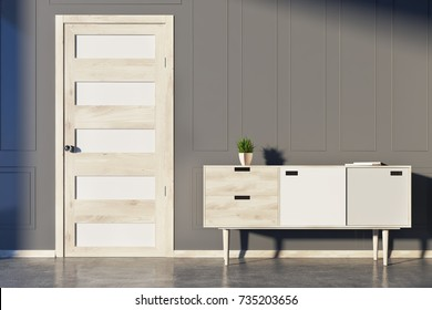 Gray living room interior with a chest of drawers, a potted plant and several book on it and a white and wooden door. 3d rendering mock up