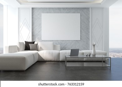 Gray living room with a poster, a concrete floor, a large window and a long white sofa near a coffee table. 3d rendering mock up