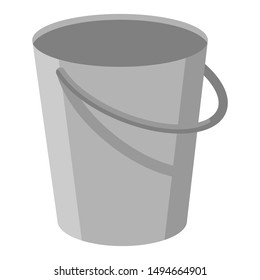 Gray metal empty bucket with a handle. Isolated white background. A bucketful for washing food, water and drink. Household chores pail. Flat cartoon illustration.