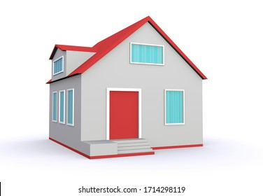 Gray model of a simple house isolated on a white background. 3d illustration.