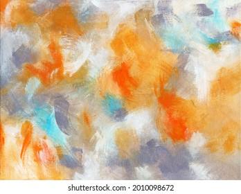 Arrière-plan gris et orange avec texture à coups de brosse. Peinture artistique brossée à la main sur toile. Arrière-plan coloré et réaliste