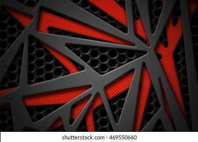 gray and orange carbon fiber frame on black mesh carbon background. metal background and texture. 3d illustration material design.