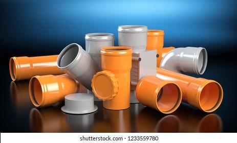 Gray and orange elements for sewer system, dark background , 3D illustration
