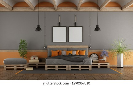 Gray and orange master bedroom with pallet bed - 3d rendering