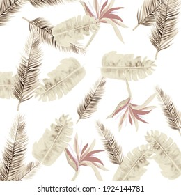 Gray Pattern Leaf. Brown Tropical Foliage. White Floral Nature. Decoration Background. Floral Textile. Summer Design. Spring Background. Wallpaper Painting.