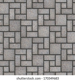 Gray Pavement - Rectangular and Small and Big Square. Seamless Tileable Texture.