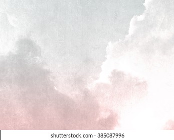 Gray pink sky background vintage in soft watercolor