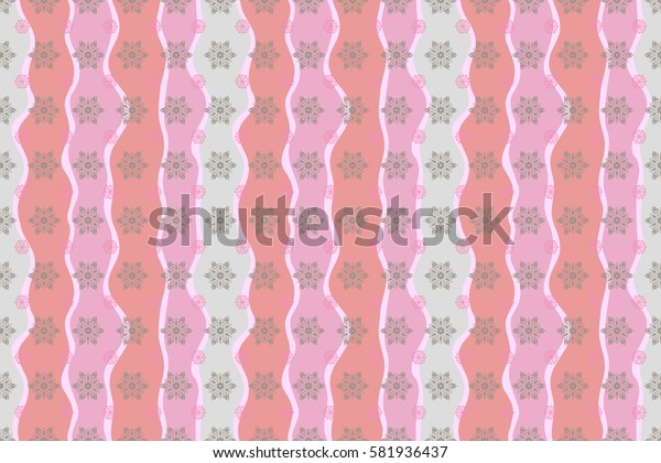 Gray and pink snowflakes on wave background poster. Hand drawn design with abstract winter doodles. Raster Merry Christmas and Happy New Year 2018 lettering quote.