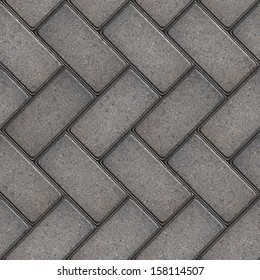Gray Rectangular Pavement Laid as Parquet. Seamless Tileable Texture.