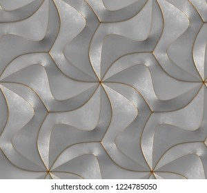 Gray rough geometric panels with gold frayed edges. High quality seamless realistic texture.