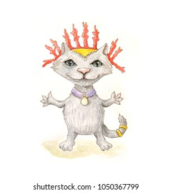 Gray sea cat in red crown made of coral.  Watercolor.