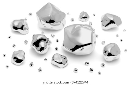 Gray shiny metal nuggets, pieces and grains with reflections and shadows isolated on white background