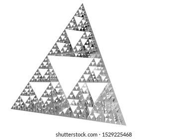 Gray Sierpinski triangle on white background. It is a fractal with the overall shape of an equilateral triangle, subdivided recursively into smaller equilateral triangles. 3D Illustration