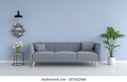 gray sofa and lamp, plant, table, shelves in living room, 3D rendering