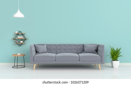 gray sofa and ramp, plant, table, shelves in living room, 3D rendering