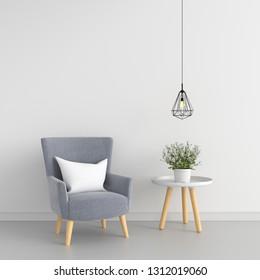Gray sofa in white room for mockup, 3D rendering