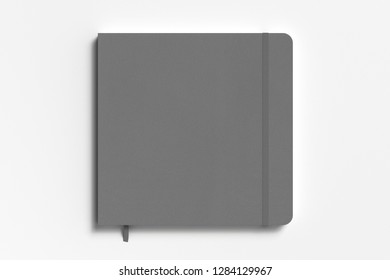 Gray square notebook with elastic band on white background. 3d illustration