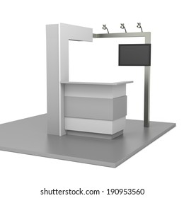 gray stand or booth in a trade show. 3d render