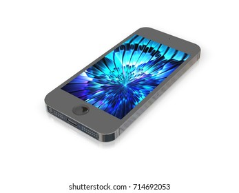 Gray Steel Metal Shockproof Smartphone Mockup with Amazing Screen for Design Project - Mock Up 3D illustration Isolate on White Background