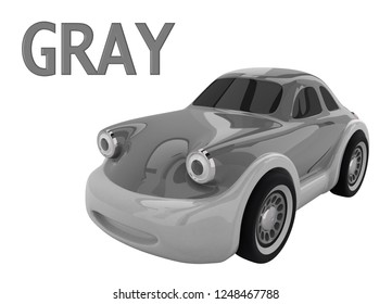 Gray toy car and an inscription with the name of the color. Isolated on white background. 3D render