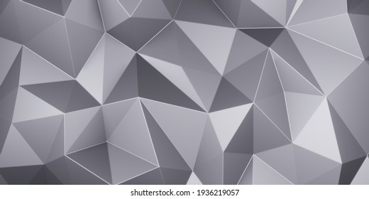 Gray triangle low polygon. Grey geometric triangular polygonal. Abstract mosaic background. 3D Rendering illustration.