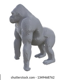 Gray voxel gorilla on a white background. 3D illustration.