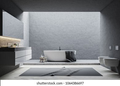 Gray wall bathroom interior with a white tub, a double sink and a long mirror above it. Toilets. 3d rendering mock up