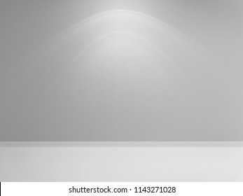 Gray wall with concrete plastering and light floor. Gray backround. 3d rendering illustration.
