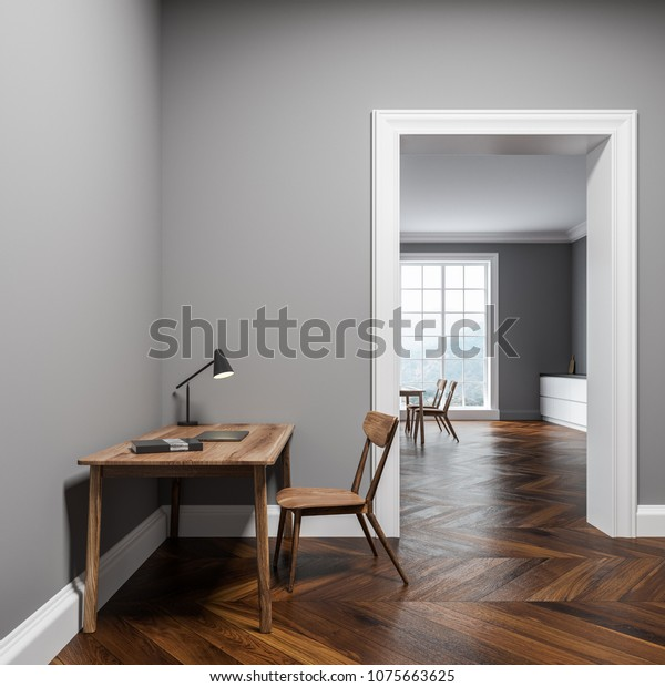 Gray Wall Home Office Interior Wooden Stock Illustration 1075663625