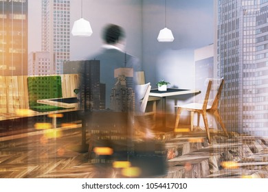 Gray wall restaurant corner with wooden and green seats and a white chairs near original tables. Businessman 3d rendering mock up toned image double exposure blurred