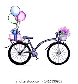 Gray watercolor bicycle on white background. Hand drawing bike with a basket with lavender flowers in front and present with balloons in the back. Trendy, hipster, isolated object