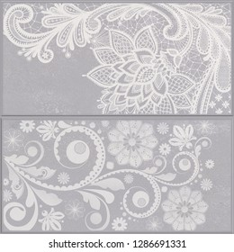 Gray and white fantasy pattern with ornamental doodle isolated on grey background. Geometric element wallpaper.
