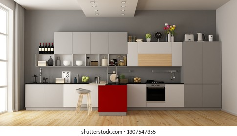Gray and white modern kitchen with red island - 3d rendering