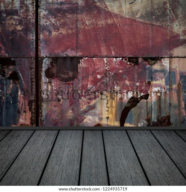 Gray Wooden Floor Rust On Old Stock Illustration 1224935719