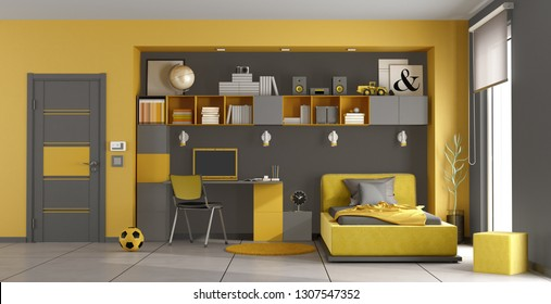 Gray and yellow kids room with single bed,bookcase and desk - 3d rendering