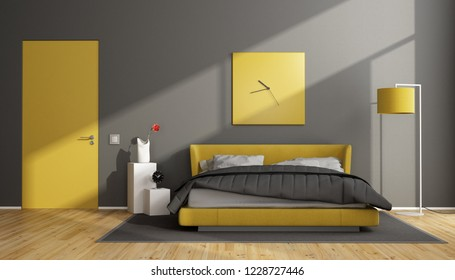 Gray and yellow modern bedroom with double bed and closed door - 3d rendering